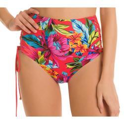 Juniors Marin Tropic Print Lace Down Swim Bottoms