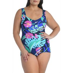 Maxine Plus Jungle Oasis Print Girl Leg One Piece Swimsuit