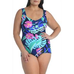 Maxine Plus Jungle Oasis Print Girl Leg One Piece Swimsuit
