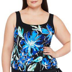 Maxine Plus In Cool Bloom Print Blouson Tankini Top