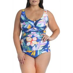 Maxine Of Hollywood Plus Maui Shirred One Piece Swimsuit