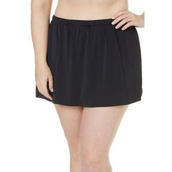 Maxine Of Hollywood Plus Elastic Waist Solid Swim Skirt