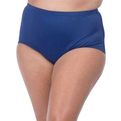 Plus Elastic Waist Solid Swim Briefs