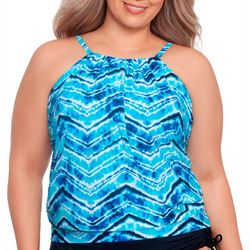 Womens Ocean Salty Blouson Tankini Top