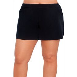 Plus Solid Woven Swim Shorts