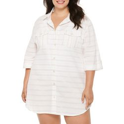 Wearabouts/Dotti Plus Pastel Stripes Button Down Cover-Up