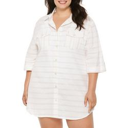 Plus Pastel Stripes Button Down Cover-Up