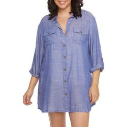 Wearabouts Plus Sheer Chambray Button Down Cover-Up