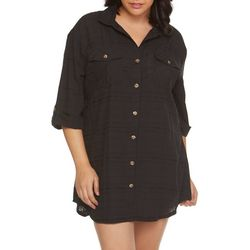 Wearabouts Plus Solid Button Down Cover-Up