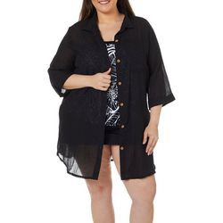Wearabouts Plus New Port Solid Button Down Cover-Up