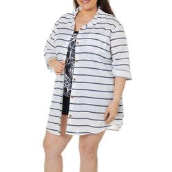 Wearabouts Plus Going Nautical Striped Button Down Cover-Up