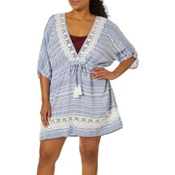 Wearabouts Plus Tassel Talk Striped Tunic Swim Cover-Up