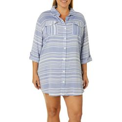 Wearabouts Plus Tassel Talk Stripe Button Down Swim Cover-Up