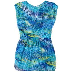 Plus Graphic Wave Tie-front Cover Up