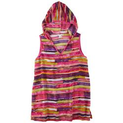 Graphic Stripe Hooded Cover Up