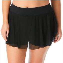 Plus Solid Mesh Swim Skirt