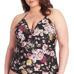 Plus Blossom O-Ring Halter Tankini Top