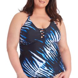 RACHEL ROY Plus BLue Zebra Neck Detail Halter Tankini Top