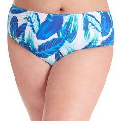 Rachel Roy Plus Blue Leaves High Rise Swim Bottoms