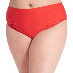 Rachel Roy Plus Solid Shirred High Rise Swim Bottoms