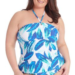 RACHEL ROY Plus Blue Palm High Neck Halter Tankini Top