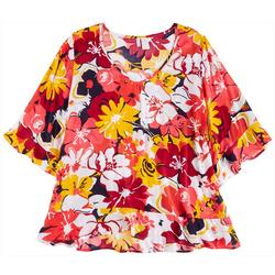 Womens Bright Floral Flounce Cover-Up