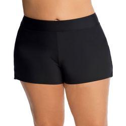 Plus Solid Elastic Waist Swim Shorts