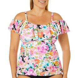Leilani Plus La Flor Ruffled Off Shoulder Tankini Top
