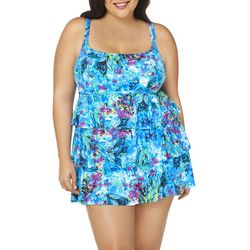 Robby Len Plus Tropical Floral Tiered Swimdress