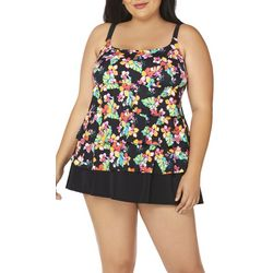 Robby Len Plus Triple Tier Floral Swimdress