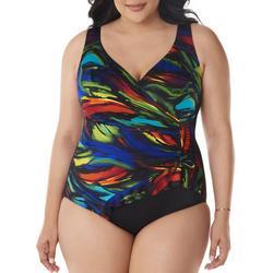 Plus Colorful Faux Wrap One Piece Swimsuit