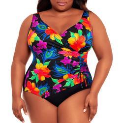 Plus Colorful Floral Surplice One Piece Swimsuit