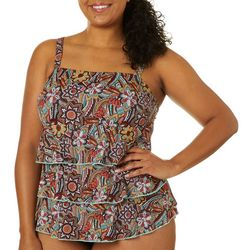 A Shore Fit Plus Spice Print Triple Tier Tankini Top