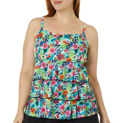 A Shore Fit Plus Tropical Floral Triple Tier Tankini Top