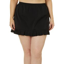 A Shore Fit Plus Solid Ruffle Trim Swim Skirt