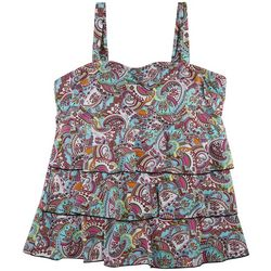 A Shore Fit Plus Paisley Print Mesh Tiered Tankini Top