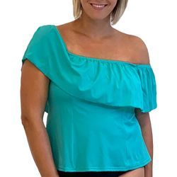 A Shore Fit Plus Solid Off The Shoulder Ruffle Tankini Top