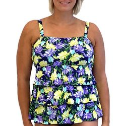 A Shore Fit Plus Floral Triple Tier Tankini Top