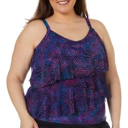 Del Raya Womens Swivel Print Mesh Triple Tier Tankini