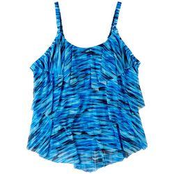 Del Raya Plus Painted Stripes Mesh Triple Tier Tankini