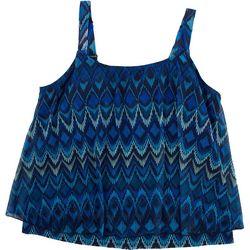Del Raya Swimwear Plus Cool Tones Ikat Print