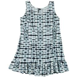 Plus Tie Dye Ruffle Hem Dress Swim Cover-Up