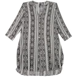 Pacific Beach Plus Mixed Stripe Tunic Cover-Up