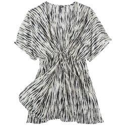 Pacific Beach Plus Tie Dye Stripe Kimono Dress Cover Up