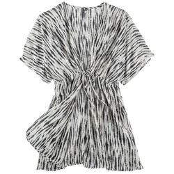 Plus Tie Dye Stripe Kimono Dress Cover Up