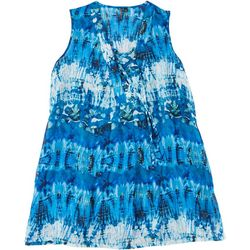 Pacific Beach Womens Plus Abstract Print Swim Cover-Up