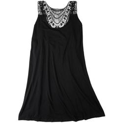 Womens Crochet Accented Tank Dress Swim Cover Up