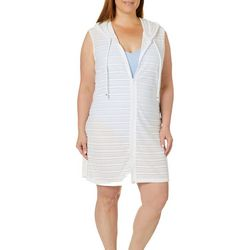 Pacific Beach Plus Shoreline Hooded Swim Cover-Up