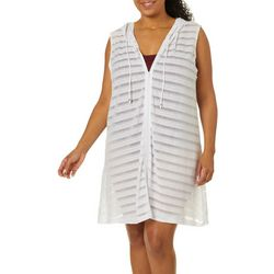 Pacific Beach Plus Burnout Stripe Hooded Swim Cover-Up