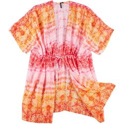 Pacific Beach Plus Tie Dye Mandala Kimono Dress Cover Up